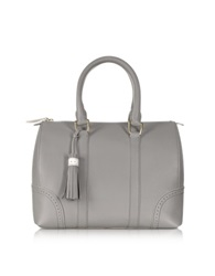 Pineider Bowling Light Grey Leather Satchel Bag Gray