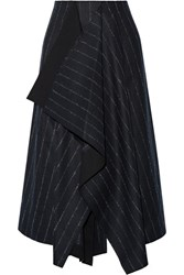 Cedric Charlier Asymmetric Pinstriped Wool Blend Skirt Midnight Blue