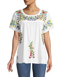 Raj Embroidered Short Sleeve Peasant Blouse White