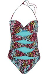 Matthew Williamson Akita Leopard Print Cutout Swimsuit Multi