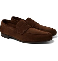John Lobb Thorne Suede Penny Loafers Brown