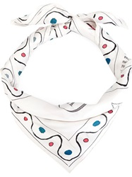 Olympia Le Tan Dotted Print Scarf White