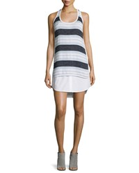 Veronica Beard Aventura Striped Racerback Tank Dress Navy Sky White Navy Blue White Size 10