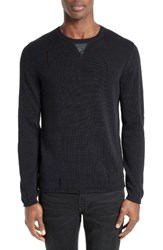 The Kooples Men's Faux Leather Trim Cotton Blend Crewneck