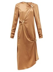 Versace Draped Safety Pinned Satin Midi Dress Brown