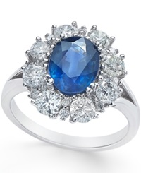 Macy's Sapphire 2 1 5 Ct. T.W. And Diamond 1 1 3 Ct. T.W. Ring In 14K White Gold