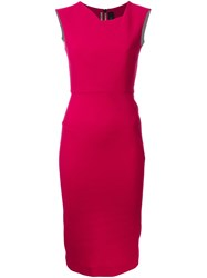 Roland Mouret Fitted Midi Dress Pink And Purple
