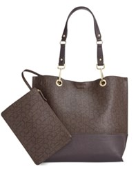 Calvin Klein Signature Reversible Tote With Pouch Text Brown Brown Dark Brown