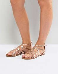 Madden Girl Arrchie Flat Sandal Rose Gold Copper