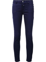 Closed Front Pocket Skinny Jeans Blue