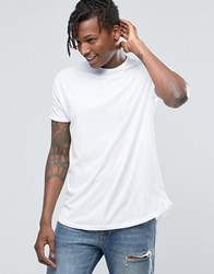 Pull And Bear Pullandbear T Shirt In White With Curved Hem White