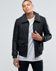 Brave Soul Faux Leather Arm Bomber Jacket Black