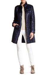 Cole Haan Quilted Leather Trim Belted Coat Blue