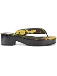 Dries Van Noten Floral Brocade Thong Sandals Black