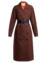Tibi Checked Double Breasted Twill Trench Coat Brown Multi