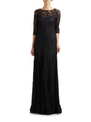 Teri Jon By Rickie Freeman Lace Pintuck Gown Navy Black