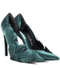 Balenciaga Feather Embellished Satin Pumps Green