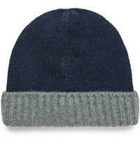 Loro Piana Color Block Ribbed Cashmere Beanie Navy