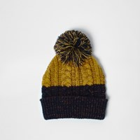 River Island Mens Navy And Mustard Twist Knit Bobble Hat
