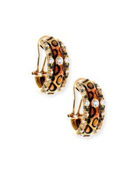 Adolfo Courrier Cheetah Print Enamel Earrings With Diamonds
