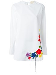 Ports 1961 Rainbow Flower Embroidered Top White