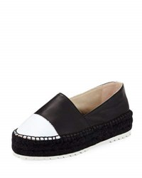 Etienne Aigner Willow Leather Platform Espadrille Black