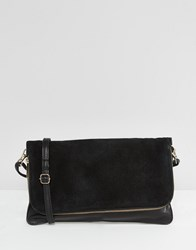Warehouse Real Leather Fold Over Cross Body Bag Black