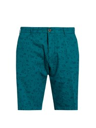 J.W.Brine Leaf Print Cotton Shorts Green Multi