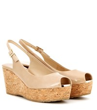 Jimmy Choo Praise Patent Leather Wedges Beige
