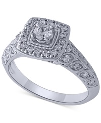 Macy's Diamond Vintage Engagement Ring In 14K White Gold 1 2 Ct. T.W.