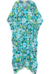 Michael Kors Collection Floral Print Silk Crepe Kaftan Turquoise