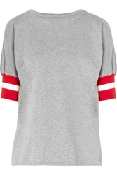 Maggie Marilyn Sunkissed Ribbed Jersey Trimmed Cotton Jersey T Shirt Gray