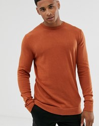 Only And Sons Crew Neck Jumper In Rust Brown