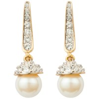 Susan Caplan Vintage 1980S 22Ct Gold Plated Faux Pearl And Swarovski Crystal Drop Earrings Gold