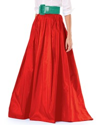 Carolina Herrera Finale Silk Ball Skirt W Train Bright Red