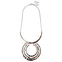 Adele Marie Textured Large Rings Pendant Necklace Rose Gold