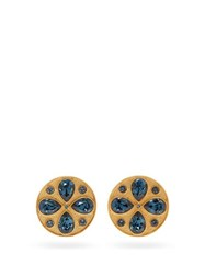Rebecca De Ravenel Pamina 24Kt Gold Plated Earrings Blue