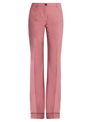 Miu Miu Wide Leg Stretch Wool Trousers Pink