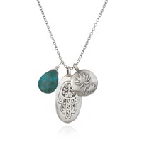 Satya Jewelry Silver Hamsa Lotus And Turquoise Necklace