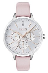 Boss Symphony Leather Strap Watch 38Mm Pink Silver