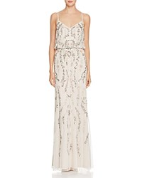 Adrianna Papell Beaded Blouson Gown Ivory Multi