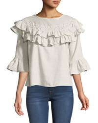 Philosophy 3 4 Sleeve Pearly Trim Ruffle Blouse Beige