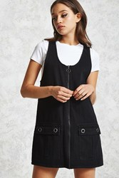 Forever 21 Denim Overall Dress Black