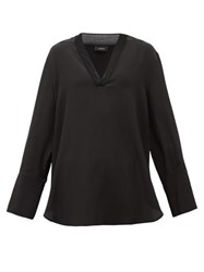 Joseph Miller V Neck Silk Crepe De Chine Blouse Black