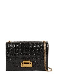 Saint Laurent Gray Cayman Croc Embossed Leather Bag Black