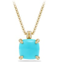 David Yurman Chatelaine Pendant Necklace With Turquoise And Diamonds In 18K Gold Turquoise Hampton Blue Topaz