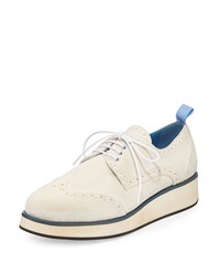 Furla Suede Rubber Bottom Wing Tip Oxford Petalo White