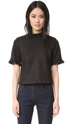 Cynthia Rowley Ultrasuede Ruffle Top Black