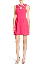 Junior Women's A. Drea Beaded Strap Fit And Flare Dress Hot Pink