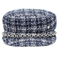 Maison Michel New Abby Tweed Hat Blue